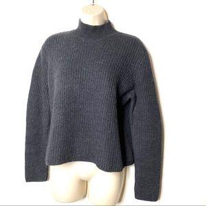 Donna Karan grey alpaca funnel neck sweater S